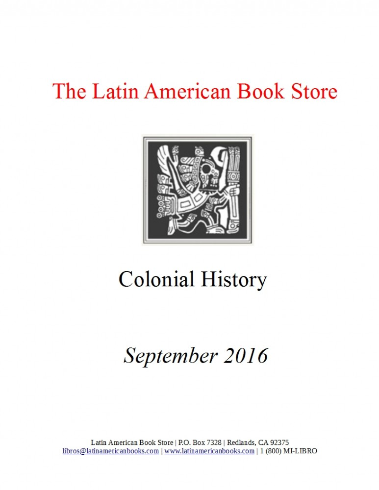 Colonial History Titles -- September 2016