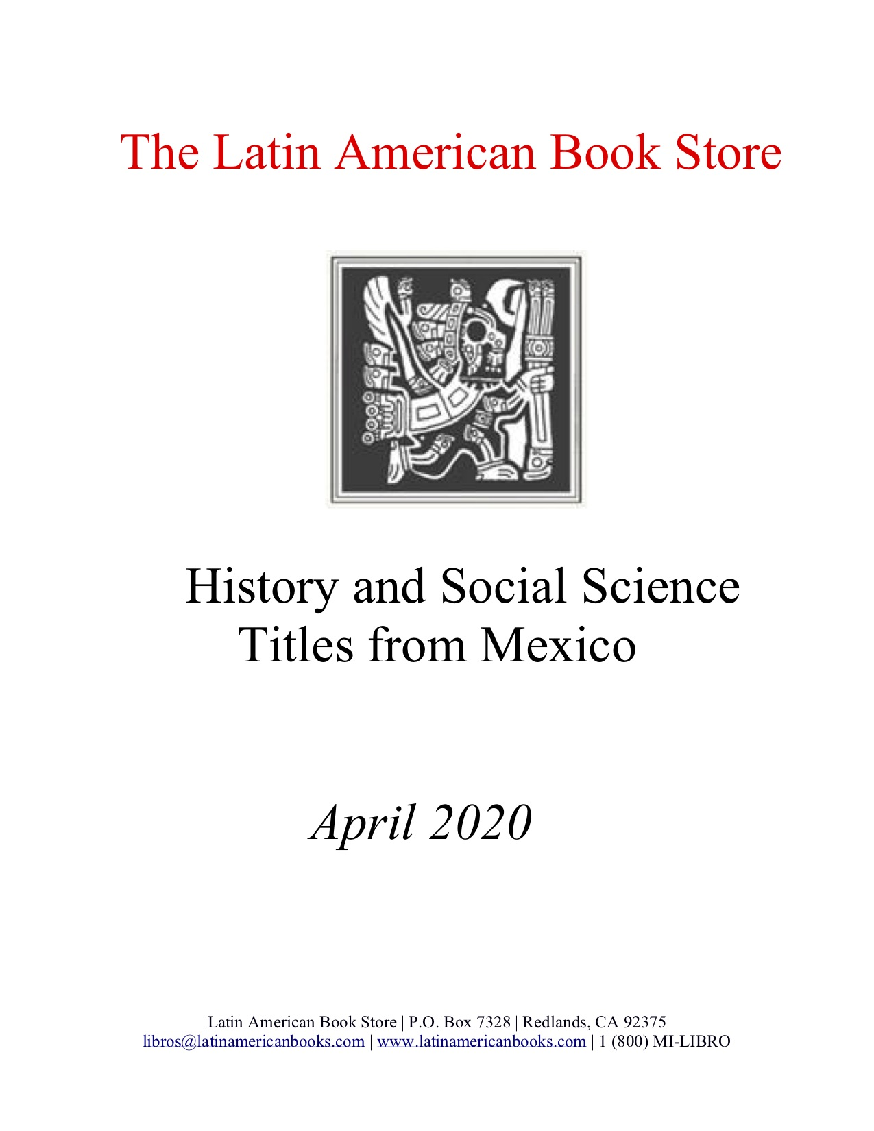 Mexican History and Social Sciences Titles -- April 2020